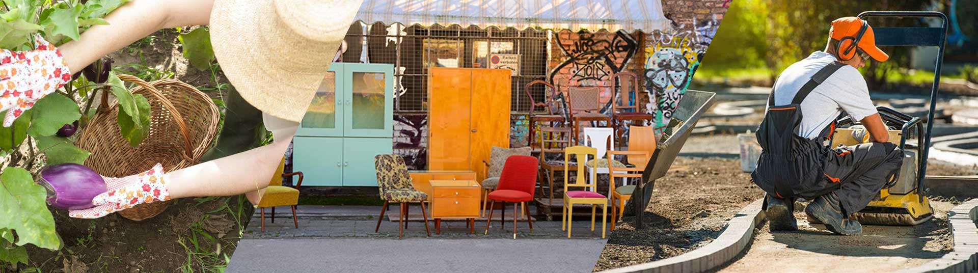 Banière représentant les activité de Question de Culture : le jardin, la recyclerie et les chantiers