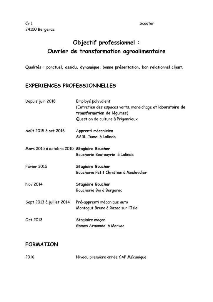 CV d'ouvrier de transformation agroalimentaire